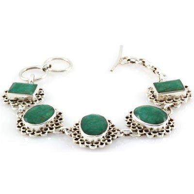 144.5ctw Natural Emerald Silver Bracelet