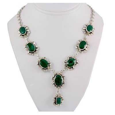 272ctw Own Design Emerald Silver Necklace