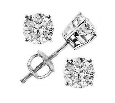 1.25 ctw Round cut Diamond Stud Earrings G-H, VS
