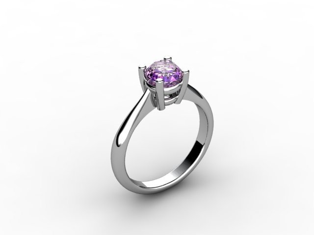 Amethyst  0.70 ctw Ring 14kt  White or Yellow Gold