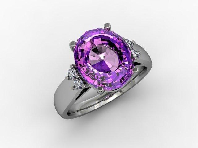 Amethyst 4.70 ctw & Diamond Ring 14kt  White Gold