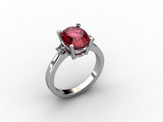Garnet 2.8ctw & Diamond Ring 14kt White Gold
