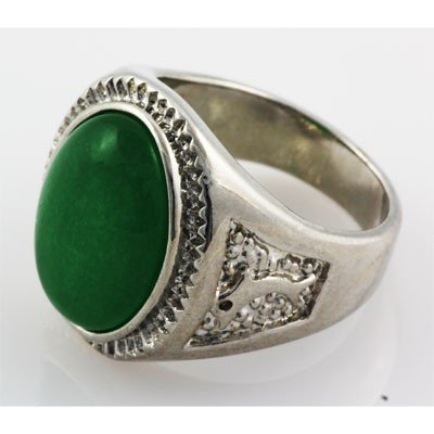 Men's Large Oval Jade Set in Silver Sterling w/ Design