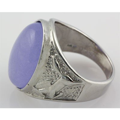 Natural Purple Jade Men's Ring Set in Sterling Silver w