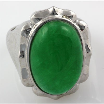 Natural Oval Jade Set in Sterling Silver Ring, Size 7