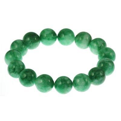 293.5ctw Natural Green Jade Round Beads Bracelet