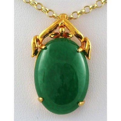 Natural Oval Jade Set in Yellow Sterling Silver, Lot of