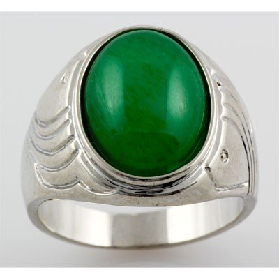 Natural Jade Men's Ring Set in Sterling Silver w/ Desin