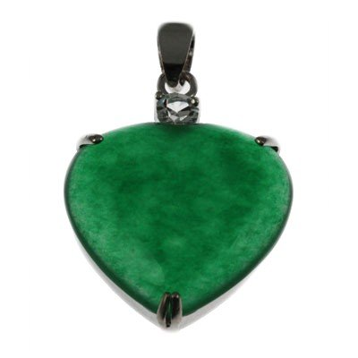 5.92g Natural Heart Jade Set Silver Round Cubic Zircon