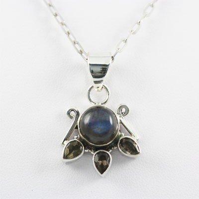 25.ctw Blue Fire Silver Pendant