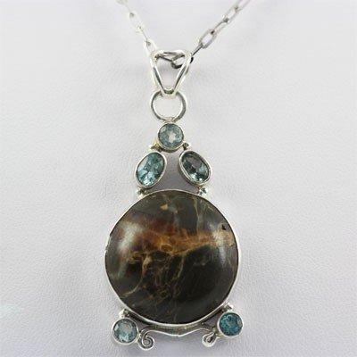 48.5ctw Aquamarine & Jasper Silver Pendant