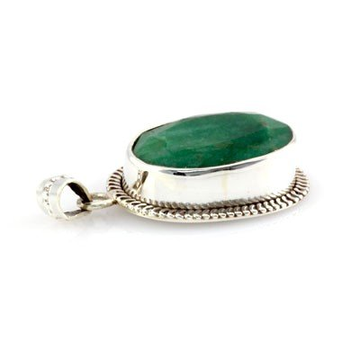 74.5ctw Antique Design Silver Emerald Pendant (17x26mm)