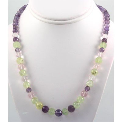 221ctw Multi Color Gemstone Silver Necklace