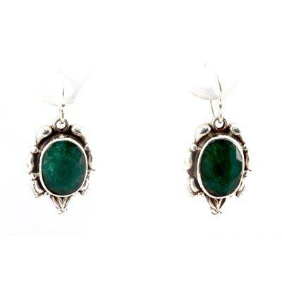 37.5ctw Classic Design Silver Emerald Earring