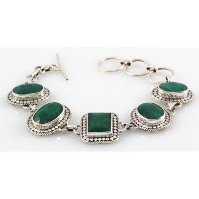 143ctw Antique Design Silver Emerald Bracelet