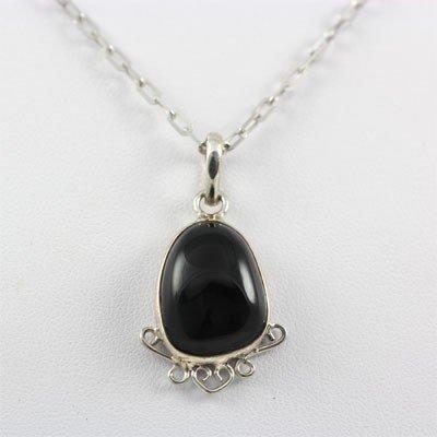 18.5ctw Black Onyx Gemstone Silver Pendant