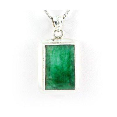 1001425055: 99.5ctw Bezel Type Silver Emerald Pendant (