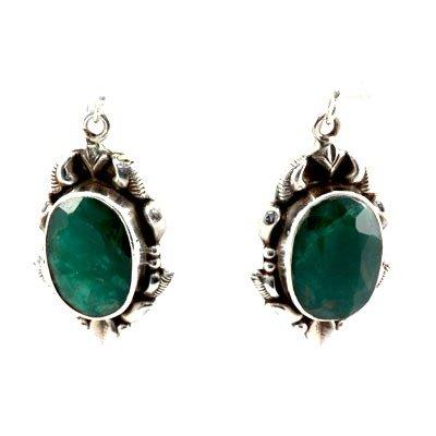1011414035: 45.5ctw Handmade Emerald Silver Earring