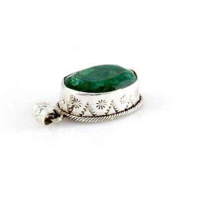 1021425081: 74.5ctw Natural Emerald Set in Silver Penda