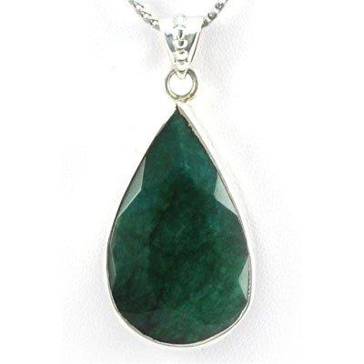 1041425060: 84ctw Natural Pear Emerald Silver Pendant (