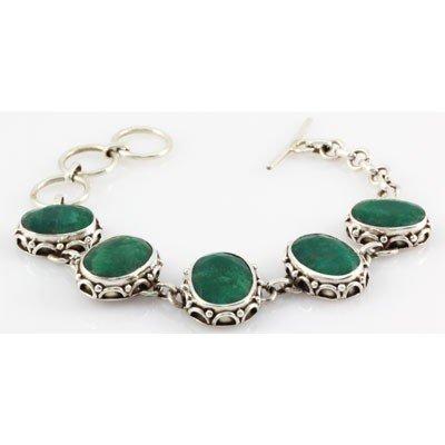 1061411016: 148.5ctw Custom Made Silver Bracelet w/ Eme