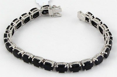32.55  ctw .925 Sterling Silver Dark Sapphire Bracelet