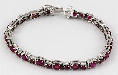 """11.0 ctw 9.25 Sterling Silver Ruby Bracelet, 7"""""""