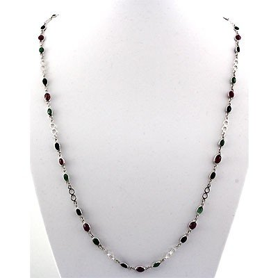 12.0 ctw .925 Sterling Silver Multi Stone Necklace