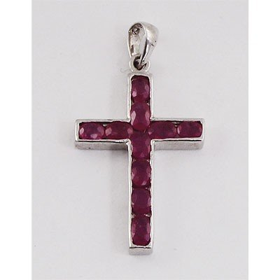 6.0 ctw .925 Sterling Silver Ruby Pendant (3.64g)
