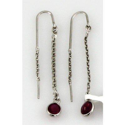 1.20 ctw .925 Sterling Silver Ruby Dangle Earring 1.92g