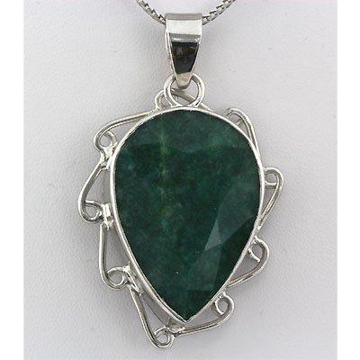 196ctw APPROX Emerald Pear Gemstone Silver Pendant