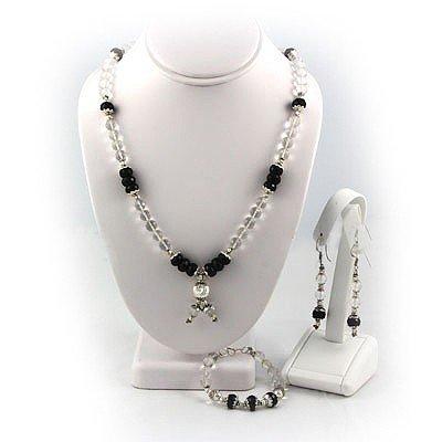541ctw White Topaz & Black Onyx Silver Sets