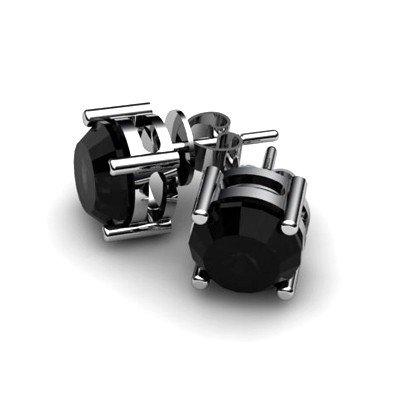Black Diamond 2ctw Earring 14kt White Gold