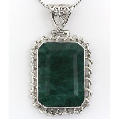 180ctw APPROX Emerald Shape Silver Pendant w/ Emerald S