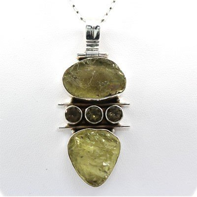 112.5ctw Moldavite Gemstone Silver Pendant