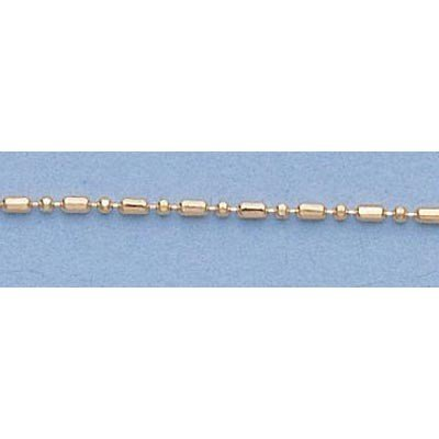"""Pure Gold 16"""" 14k  Gold-Yellow  1.0mm Bar & Bead Chain"""