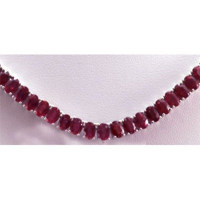 62.40 ctw Ruby Necklace 14kt W/Y Gold