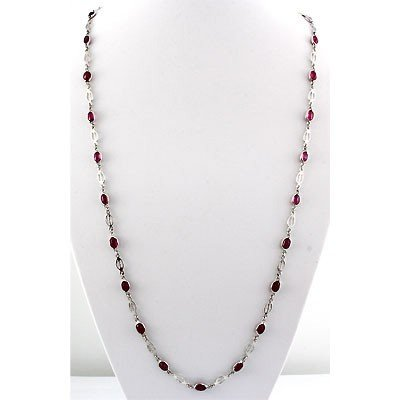 16.80 ctw.925 Sterling Silver Ruby Necklace