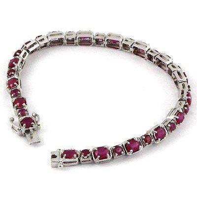 11.0 ctw 9.25 Sterling Silver Ruby Bracelet