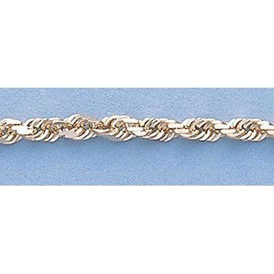 """Pure Gold 16"""" 14k Gold-Yellow 2.5mm DC Rope Chain 8.0g"""