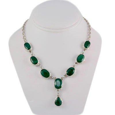 248.5ctw Elegant Emerald Silver Necklace