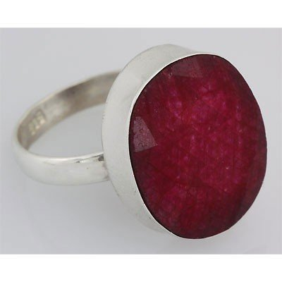 32ctw APPROX Bezel Type Silver Ring w/ Ruby Gemstone