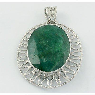 144ctw APPROX Big Emerald Gemstone set in Silver Pendan