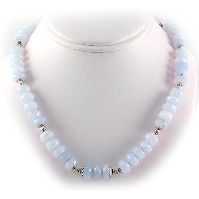 329.5ctw Natural Blue Lace Beads Silver Necklace
