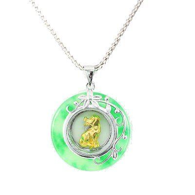 Natural Chinese Spinner Gold Dog Silver Pendant