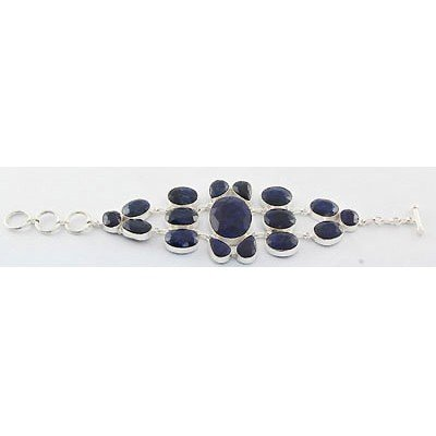 291ctw APPROX Hand Made Sapphire Silver Bracelet