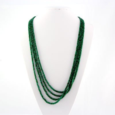 463ctw Natural 4Row Emerald Beads Necklace