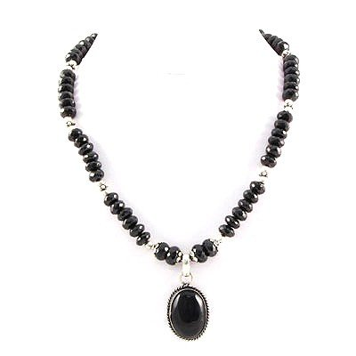 346ctw Natural Black Onyx Silver Necklace