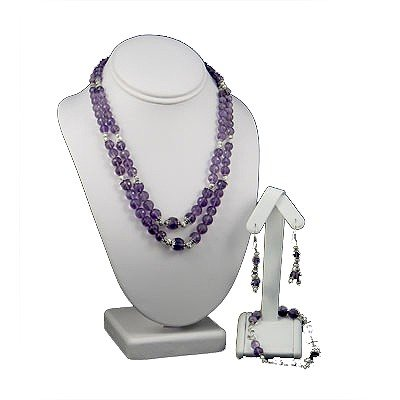 613ctw Faceted Amethyst Gemstone Silver Sets