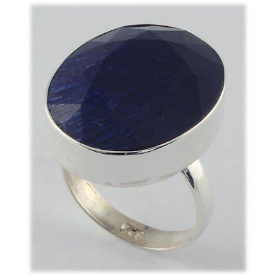 48ctw APPROX Silver Oval Shape Sapphire Ring